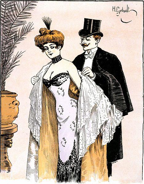 """""""Würden Sie mir böse sein, wenn ich einen Kuss auf diese schöne Schulter drückte?"""" """"Das werden Sie ja nachher schon sehen"""" (Henri Gerbault, 1901)"""