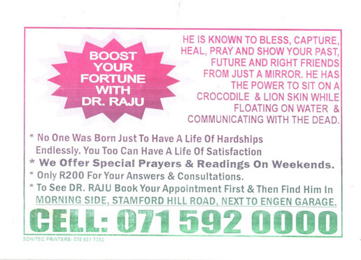 Pamphlet collected in Durban by Rosemary Lombard, 2009