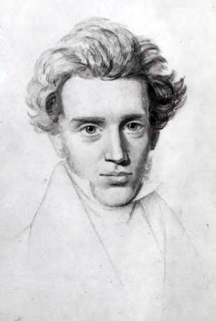 Sketch of Søren Kierkegaard. Based on a sketch by Niels Christian Kierkegaard (1806-1882)
