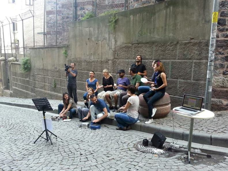 "Istanbul group Kardeş Türküler recording the video ""Pots & Pans"" in response to the Taksim/Gezi Park protests this week."