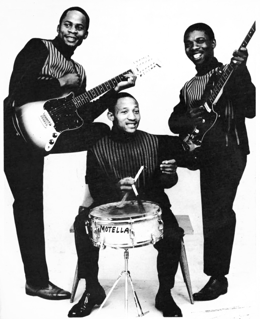 Makhona Tsohle Band - a pic taken in 1967. Left to right: Marks Mankwane (guitar), Lucky Monama (drums), Joseph Makwela (bass).