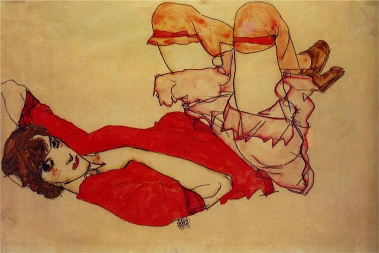 Egon Schiele - Wally with a Red Shirt. c. 1913
