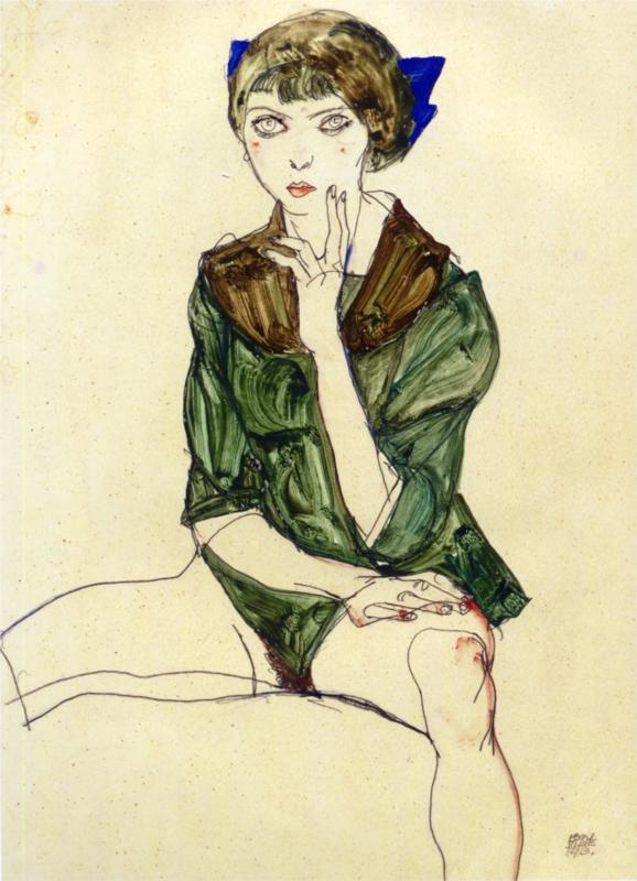 Egon Schiele - Sitting Woman in a Green Blouse. 1913