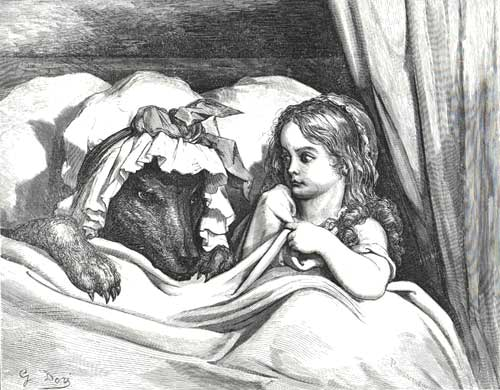Gustave Dore - The Disguised Wolf in Bed