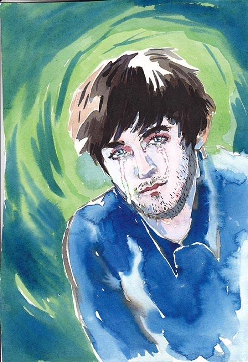 "Lizza Littlewort. ""'Crying Boy' reaches puberty, grows facial hair."" Watercolour experiment."