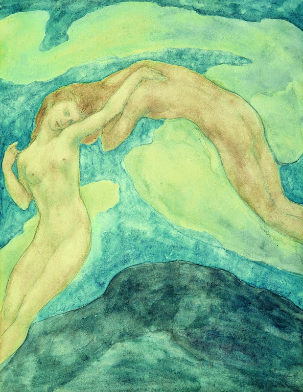 """Kahlil Gibran. """"The Summit"""" from Sand and Foam, c. 1925, Watercolor and pencil on paper, 11 x 8 1/2 inches, Telfair Museums, Gift of Mary Haskell, 1950."""