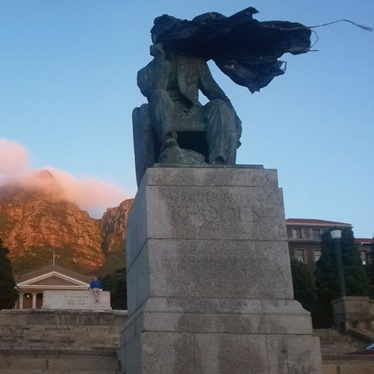 Rhodes statue, head covered in garbage bags. University of Cape Town, 17 March 2015. Photo: Rosemary Lombard