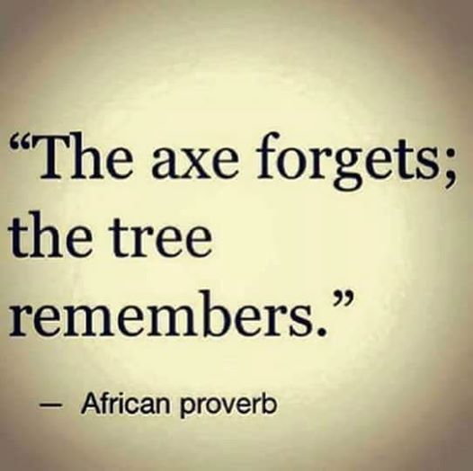 the axe forgets the tree remembers