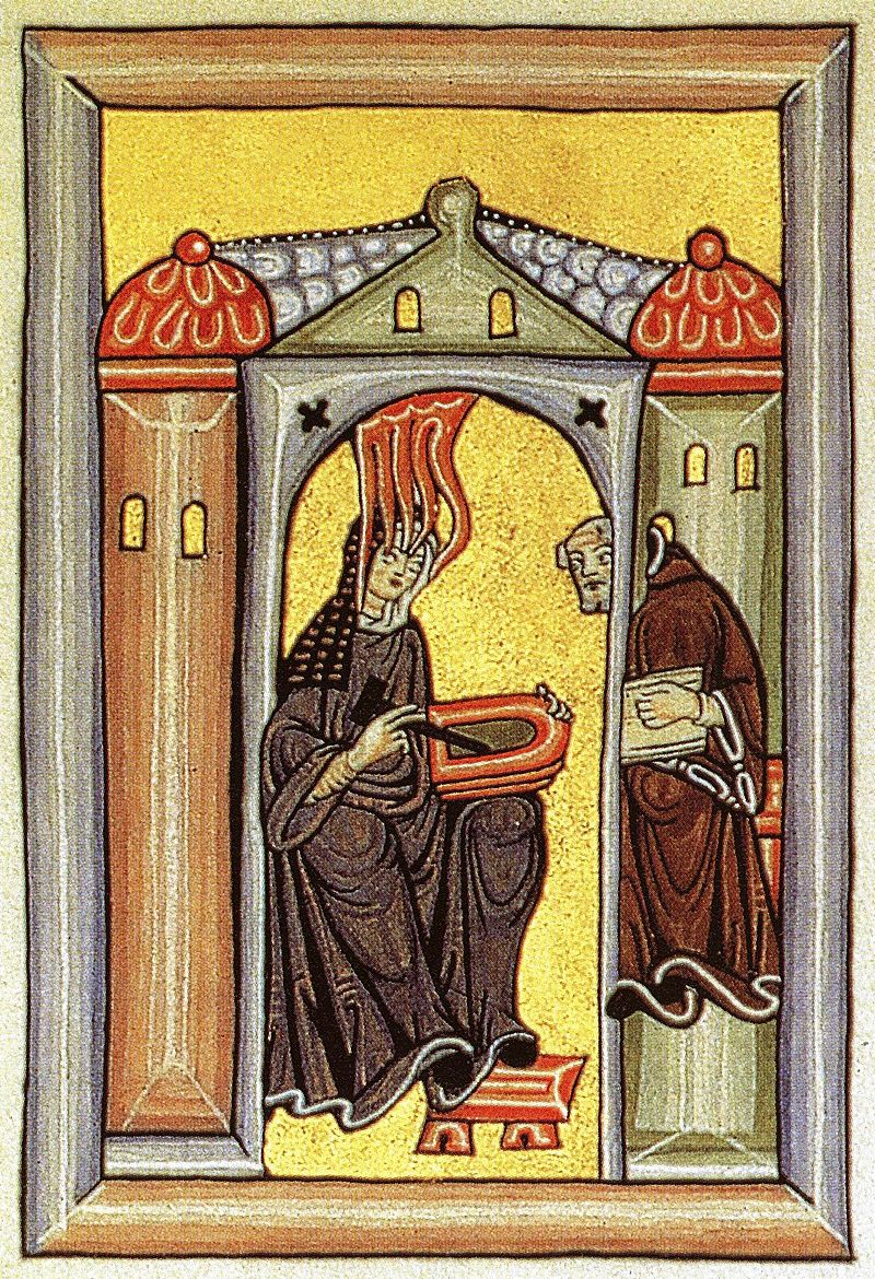 "Illumination from the ""Liber Scivias"" showing Hildegard receiving a vision and dictating to her scribe and secretary."