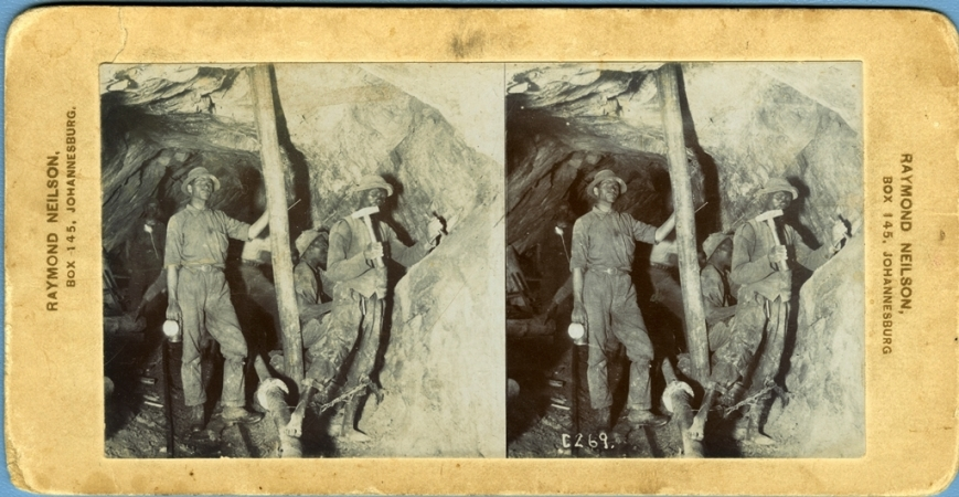 Photo 2: Stereographic image of Johannesburg miners around the turn of the twentieth century.