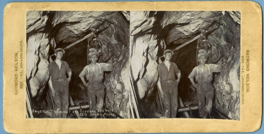 Photo 1: Stereographic image of miners in Crown Mines around the turn of the twentieth century.